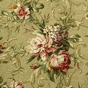 Pink Cabbage Roses on Sage Green Drapes 2 50 X 82